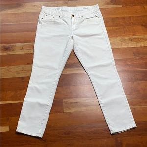 J. Crew White Cropped Toothpick Jeans